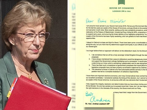 Andrea Leadsom signed resignation letter with turquoise pen