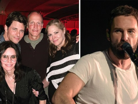 Courteney Cox hangs with 'loveable misfits' Woody Harrelson and James Marsden at Snow Patrol gig