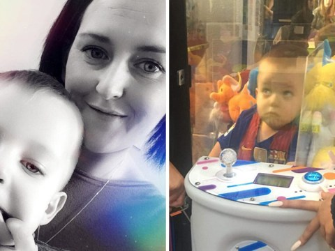 This three-year-old boy got stuck in a toy grabber machine