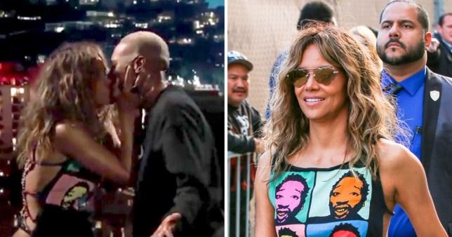 Halle Berry makes a surprise appearance on Jimmy Kimmel Live! alongside Lena Waithe