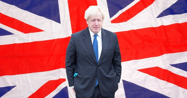 Boris Johnson standing in front of a Union Jack