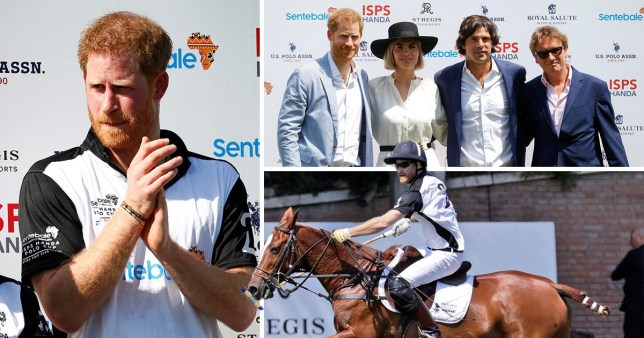 Picture of Prince Harry, Duke of Sussex, at a polo match in Rome in aid of his Sentebale charity for young people in Africa living with HIV.