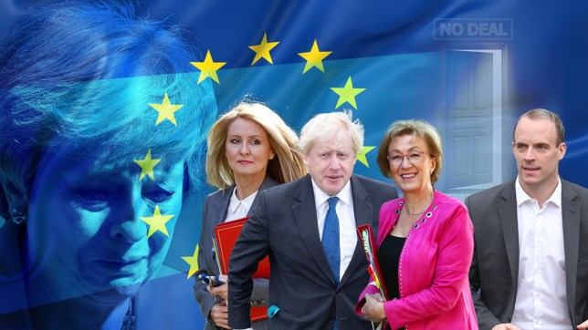 Esther McVey, Boris Johnson, Andrea Leadsom and Dominic Raab in front of the EU logo and Theresa May crying