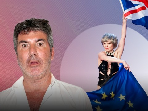 'Theresa May' strips and twirls EU flag during Britain's Got Talent audition – and Simon Cowell's face is priceless