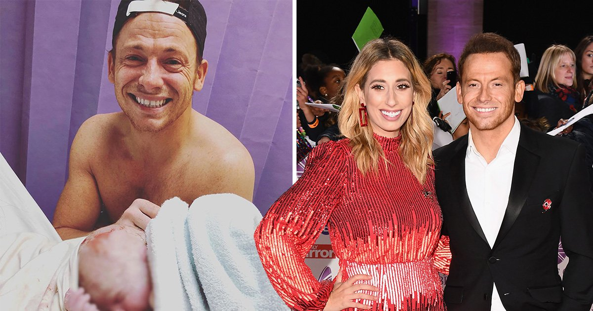 Joe Swash cries as he meets son for first time in emotional photo as Stacey Solomon coos over newborn