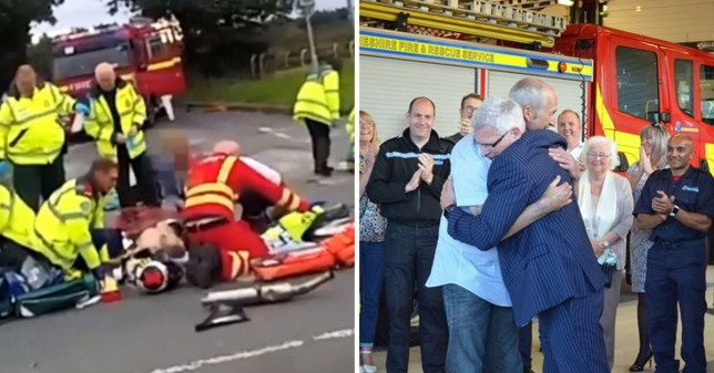 vA motorcylist who almost died was only brought back to life when a doctor performed open heart surgery in the middle of the road (Picture: Cheshire Fire and Rescue Service/ Liverpool Echo)