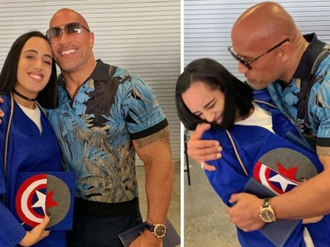 Dwayne Johnson seriously cramps his daughter's style at her Marvel-themed graduation and the photos are brilliant