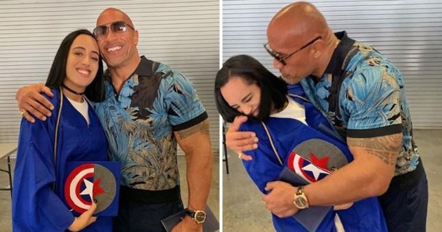 Dwyane Johnson hugs daughter at graduation