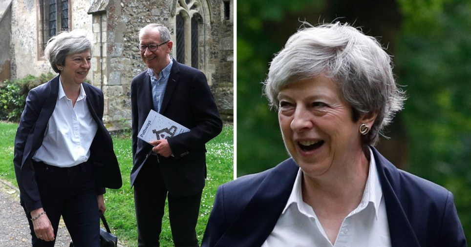 Theresa and Philip May arrived at church with smiles on their faces as MPs battle to succeed her