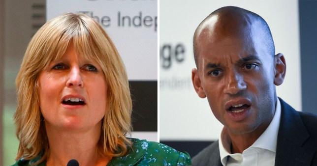 Change UK candidate Rachel Johnson, sister of Tory MP Boris Johnson next to a picture of Change UK MP Chuka Umunna.
