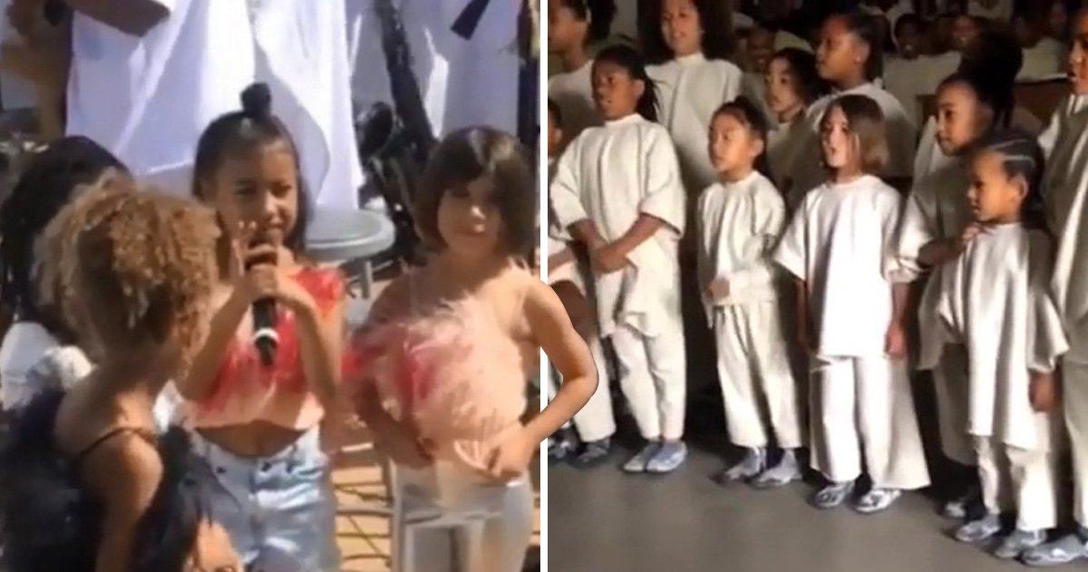 Kim Kardashian's kids steal the show with performance at Kanye West's Sunday service