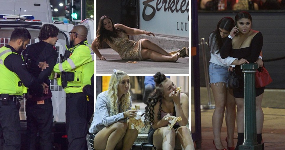 Compilation of pictures of drunk people partying in Broad Street, Birmingham.