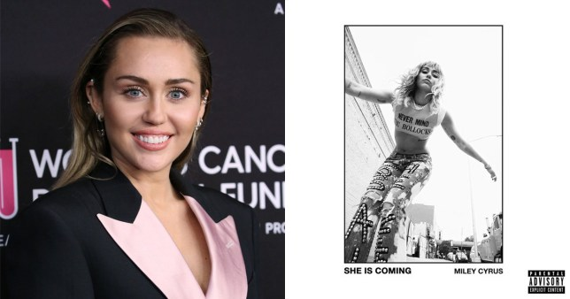 Miley Cyrus with the cover of her new album She Is Coming