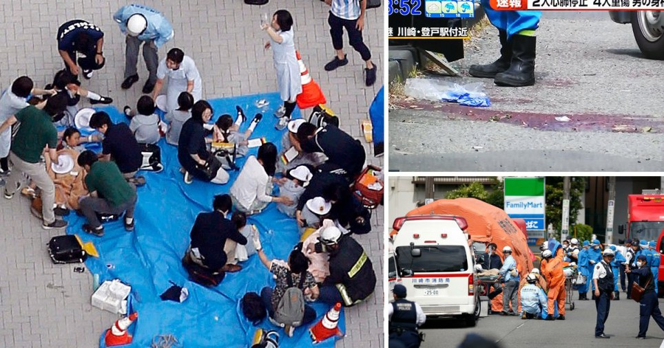 The attack happened just outside Tokyo during Tuesday morning's rush hour, Japanese authorities said