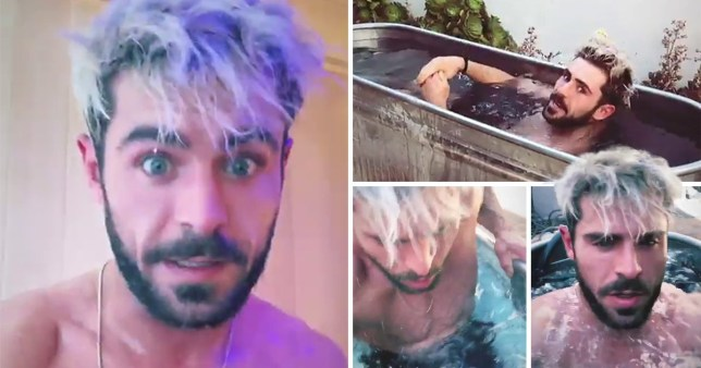 Zac Efron takes an ice bath and posts picture on Instagram