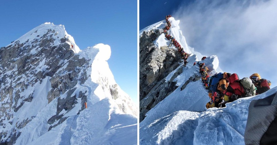 Overcrowding has been blamed for the deaths of several climbers on Mount Everest. The left picture shows the route in 2006 compared to the current lines of people in 2019