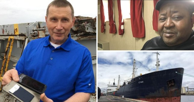 Sailors Vyacheslav Borshchevskij and Richard Thompson have been stranded on a ship for two-and-a-half years after it was abandoned by the owner