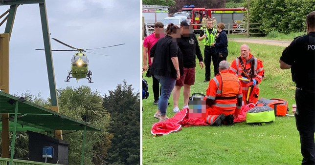 The air ambulance was called after a boy fell from the Twister rollercoaster at Lightwater Valley