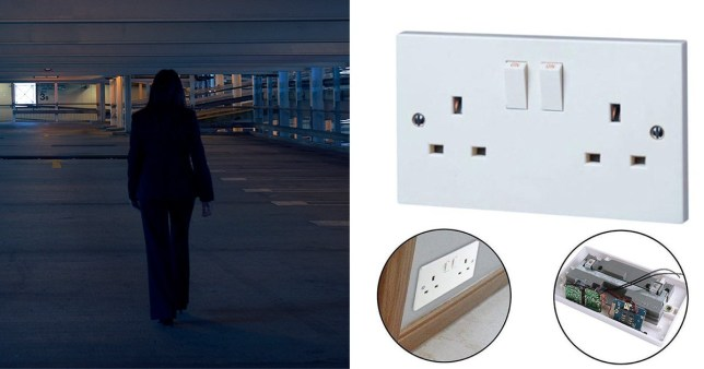 Picture of a woman being stalked in a shadowy car park next to an eBay advert for a hidden bugging device inside a power socket.