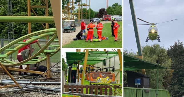 The boy was airlifted to hospital after falling from a rollercoaster at Lightwater Valley