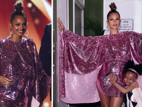 Alesha Dixon's little 'angel' Azura looks beyond excited to become a big sister as she hugs mum's bump