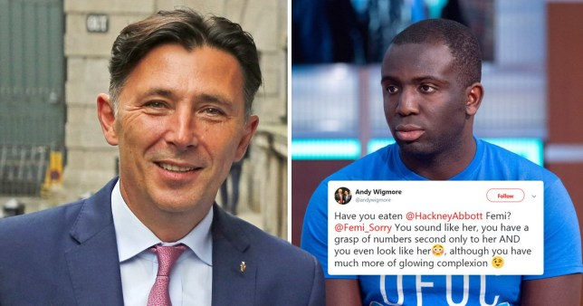 Leave.eu communications director Andy Wigmore next to picture of remain campaigner Femi Oluwole with tweet in which Mr Wigmore compares him to Diane Abbott.
