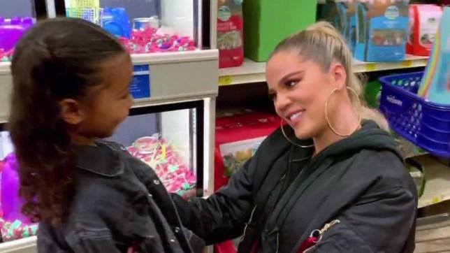 Khloe Kardashian and North West at a pet store