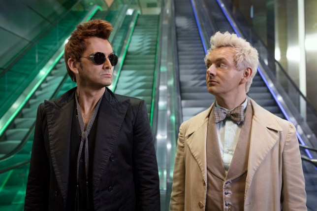 Undated handout photo issued by Amazon Prime Video of Michael Sheen as the Angel (right) and David Tennant as the Demon in Good Omens, based on the book by Terry Pratchett & Neil Gaiman. The first official trailer for Good Omens has been released on Twitter. PRESS ASSOCIATION Photo. Issue date: Wednesday March 6, 2019. See PA story SHOWBIZ Omens. Photo credit should read: Amazon Prime Video/PA Wire NOTE TO EDITORS: This handout photo may only be used in for editorial reporting purposes for the contemporaneous illustration of events, things or the people in the image or facts mentioned in the caption. Reuse of the picture may require further permission from the copyright holder.