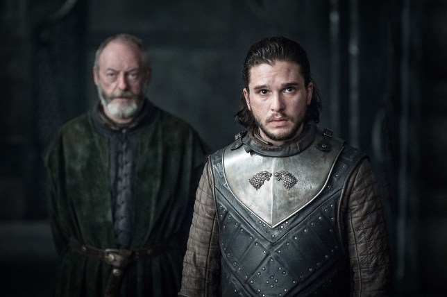 Liam Cunningham as Davos Seaworth and Kit Harington as Jon Snow in Game of Thrones
