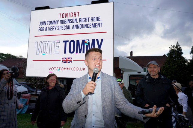Tommy Robinson speaks at a rally ahead of European elections