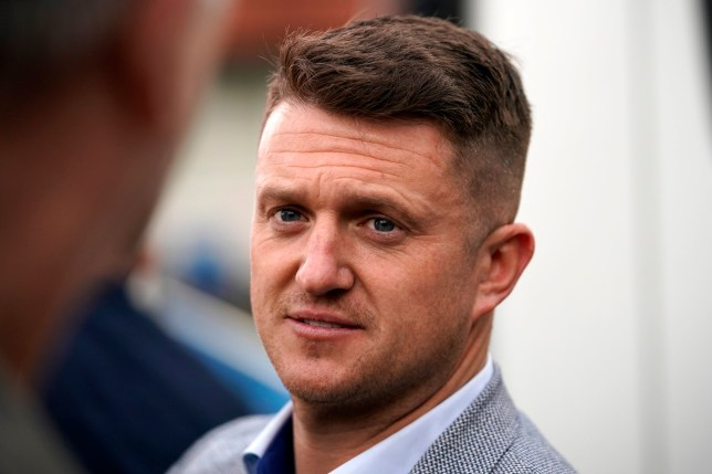 British far-right activist and pundit, Tommy Robinson (real name Stephen Yaxley-Lennon) speaks to supporters as he launches his election campaign for the forthcoming European Elections, where he will standing for the North West seat as an independent, on April 25, 2019 in Wythenshawe, England. (Photo by Christopher Furlong/Getty Images)