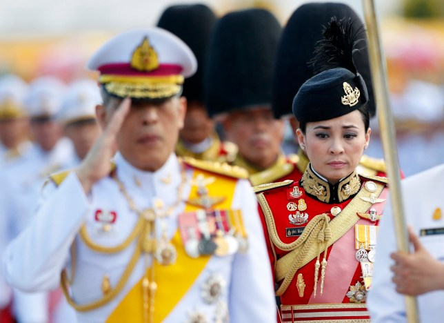 epa07540143 (FILE) - A commander of Thai King's bodyguards, General Suthida Vajiralongkorn na Ayudhya, (R) accompanies with Thai King Maha Vajiralongkorn Bodindradebayavarangkun (L) during a royal ceremony to mark Chakri Memorial Day at the King Rama I Monument in Bangkok, Thailand, 06 April 2019 (reissued 01 May 2019). A Royal Gazette announced on 01 May 2019 that Thai King Maha Vajiralongkorn Bodindradebayavarangkun had married his consort General Suthida Vajiralongkorn na Ayudhya and appointed her as Thailand's new queen named Queen Suthida, days before the coronation ceremony which set on 04 to 06 May 2019. EPA/RUNGROJ YONGRIT