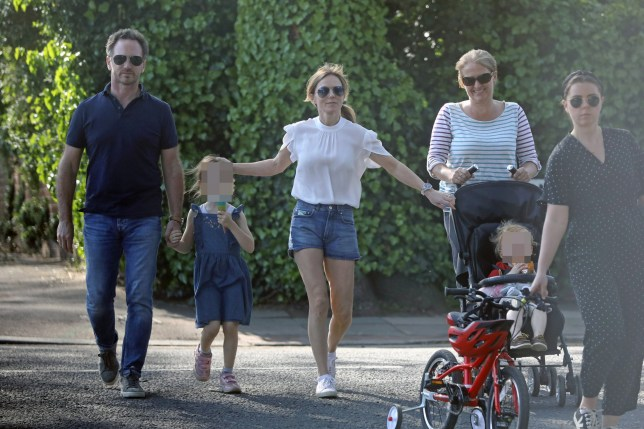 MUST BYLINE: EROTEME.CO.UK***PLEASE PIXILATE CHILDREN'S FACES***Geri (Halliwell) Horner enjoys a family day out with her husband Christian Horner and family friends. The Ginger spice girl showed off her slender legs in denim short shorts but revealed that even skinny women are prone to cellulite. EXCLUSIVE April 28, 2019 Job: 190429L1 London, EnglandEROTEME.CO.UK44 207 431 1598Ref: 341629