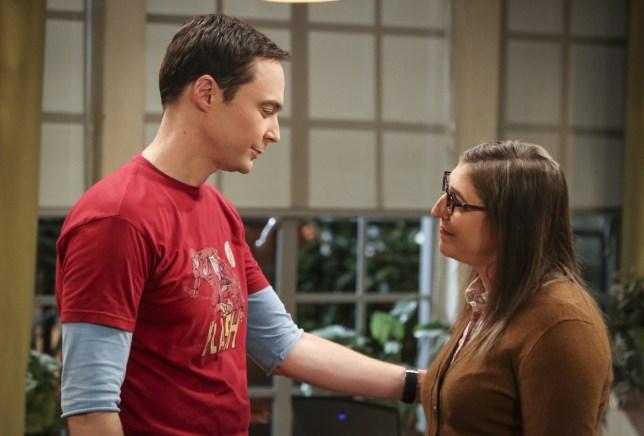 Jim Parsons as Sheldon Cooper and Mayim Bialik as Amy Farrah Fowler in The Big Bang Theory