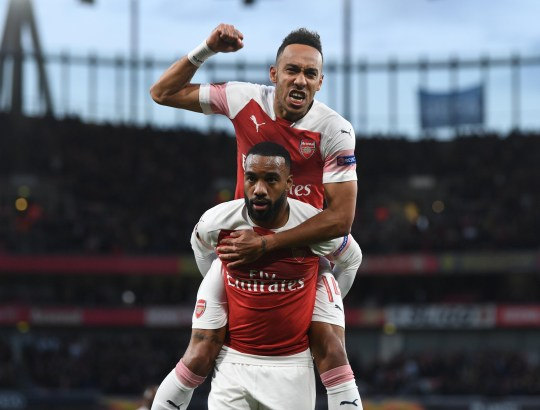 LONDON, ENGLAND - MAY 02: Alex Lacazette celebrates scoring for Arsenal with Pierre-Emerick Aubameyang during the UEFA Europa League Semi Final First Leg match between Arsenal and Valencia at Emirates Stadium on May 02, 2019 in London, England. (Photo by Stuart MacFarlane/Arsenal FC via Getty Images)