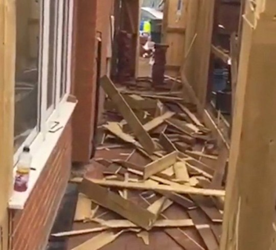 This is the astonishing moment a group of gardeners destroy a brand-new patio in a row with a customer who allegedly failed to pay ?7,300 for the work.Jack Pendergast filmed his colleagues smashing up paving slabs and pulling down a fence and can be heard angrily shouting about the dispute in the footage.He uploaded a series of videos to Facebook and said the customer in Ellesmere Port, Cheshire had not paid despite being asked for the cash 'five times'.At one point police even turn up but quickly leave, with Mr Pendergast heard saying it was because 'they know we're within our rights'.Uncleared grabs/Gardeners destroy brand new patio with a sledgehammer*NO PERMISSION PLEASE LEGAL