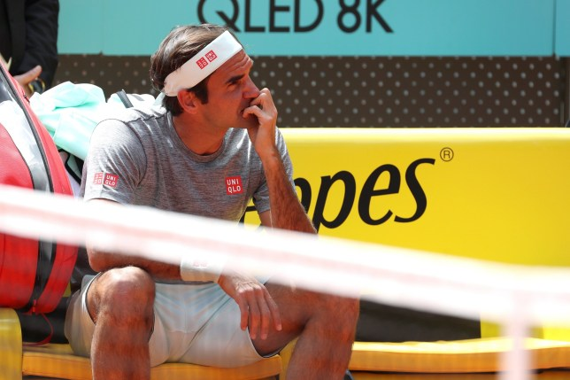 epa07544701 Roger Federer of Switzerland reacts during a training session before the Mutua Madrid Open 2019 tennis tournament at Caja Magica in Madrid, Spain, 03 May 2019. Mutua Madrid Open 2019 will be held from 03 to 12 May 2019. EPA/Kiko Huesca