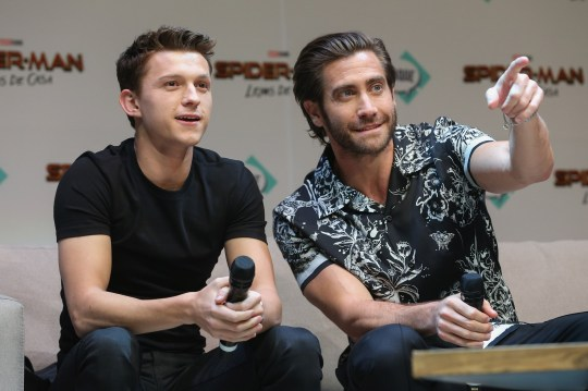 """QUERETARO, MEXICO - MAY 04: Tom Holland and Jake Gyllenhaal attend Conque 2019 to present the new film """"Spider-Man: Far From Home"""" at Centro de Congresos on May 4, 2019 in Queretaro, Mexico. (Photo by Victor Chavez/Getty Images)"""