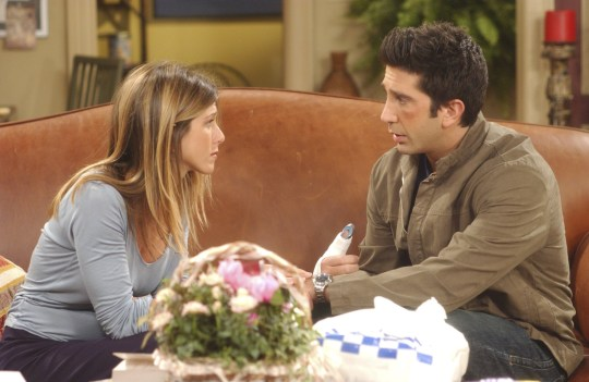 "FRIENDS -- ""The One Where Emma Cries"" -- Episode 2 -- Aired 10/3/2002-- Pictured: (l-r) Jennifer Aniston as Rachel Green, David Schwimmer as Dr. Ross Geller -- Photo by: Danny Feld/NBCU Photo Bank"
