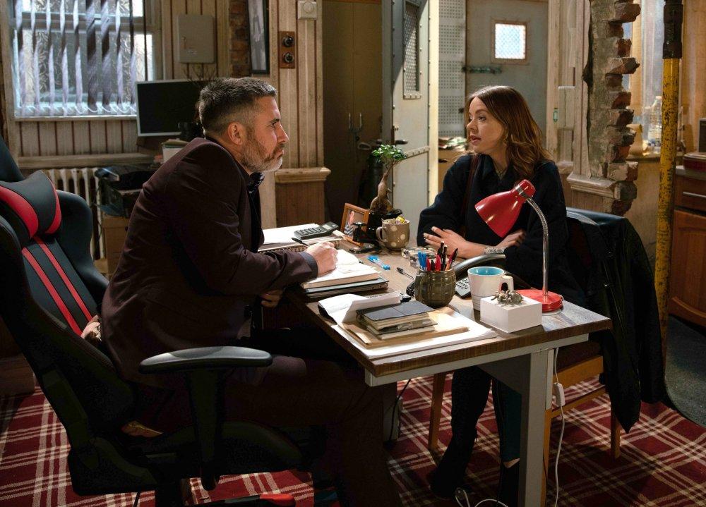 Toyah Battersby (Georgia Taylor) visits Rick Neelan (Greg Wood) to grill him about Nick Tilsley (Ben Price)