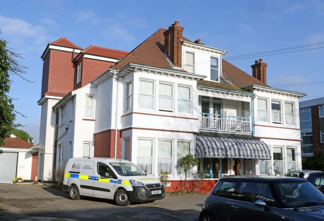 Date: 07 May 2019 Location: Westcliffe-on-Sea, Essex A pensioner suffering from Alzheimer???s was lifted over a balcony of her care home and dropped to her death by her son, a court heard today. Robert Knight walked into Langley Lodge care home in Westcliff-on-Sea, Essex, and murdered June Knight. Pictured: Police at the Langley Lodge Care home in Westcliffe-on-Sea, Essex in December 2018 when the incident occured. Words: Essex News and Pictures.