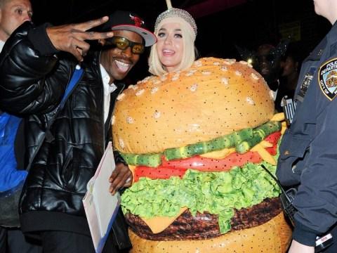 Katy Perry left rolling around Met Gala floor after falling in burger costume