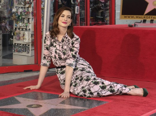 Anne Hathaway at her star ceremony on the Hollywood Walk of Fame