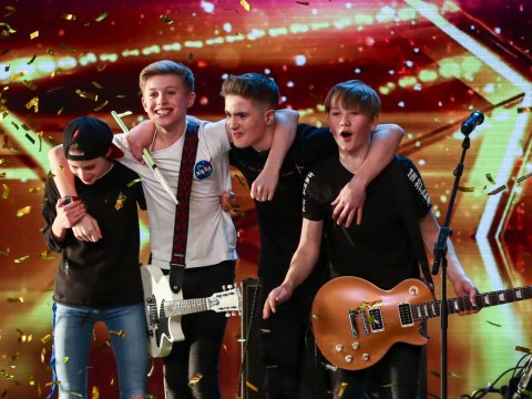 Amanda Holden gives her Britain's Got Talent golden buzzer to 14-year-old rock band
