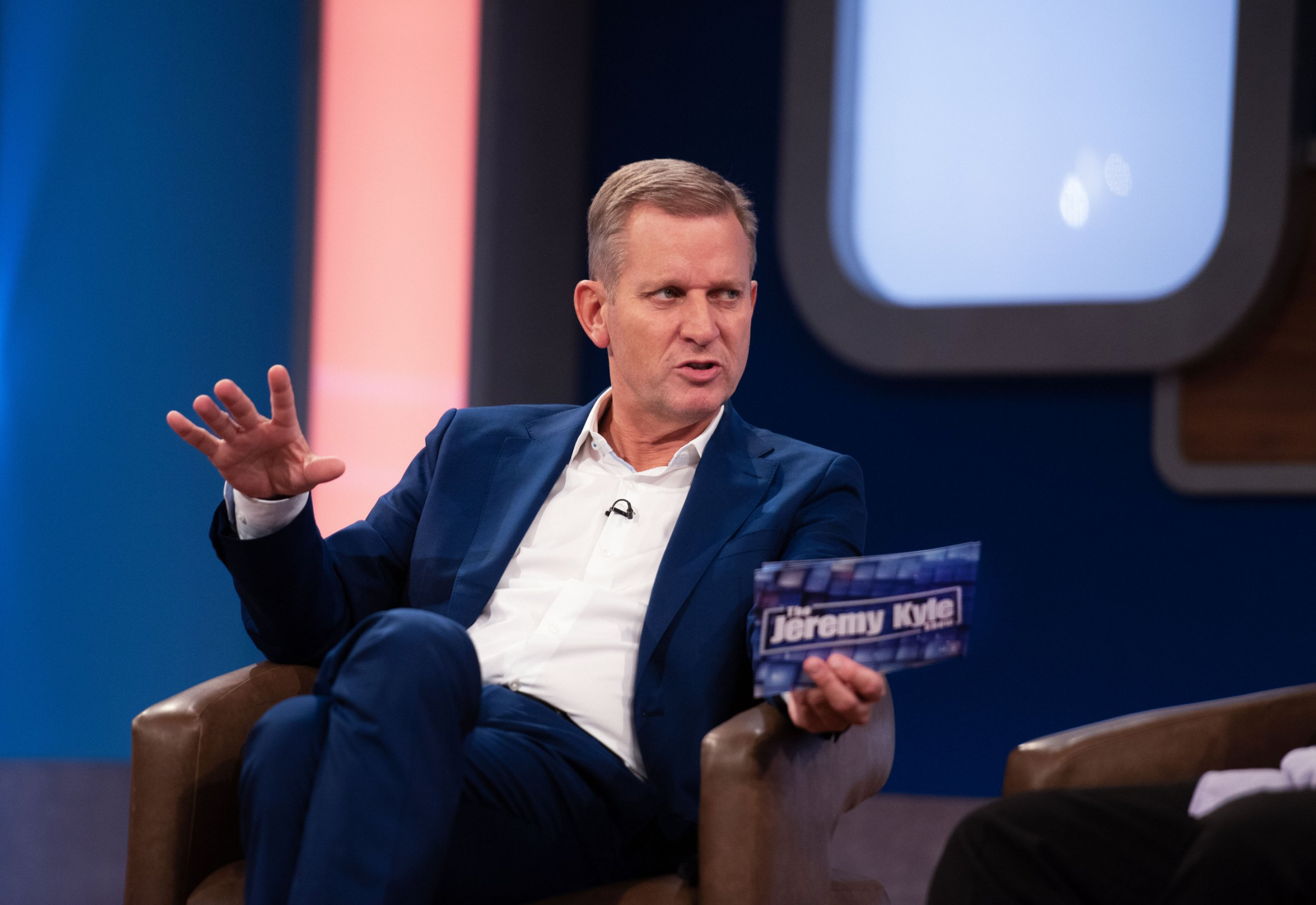 From: ITV Studios THE JEREMY KYLE SHOW - weekdays on ITV Picture shows: Jeremy Kyle The Jeremy Kyle Show helps the public get to grips with real-life issues, ranging from indiscretions and infidelities to fetishes and flirting, in a show that brings real-life issues and dilemmas for Jeremy to deal with. (C) ITV Photographer: Ania Pankiewicz For further information please contact Peter Gray 0207 157 3046 peter.gray@itv.com This photograph is ?? ITV and can only be reproduced for editorial purposes directly in connection with the programme THE JEREMY KYLE SHOW or ITV. Once made available by the ITV Picture Desk, this photograph can be reproduced once only up until the Transmission date and no reproduction fee will be charged. Any subsequent usage may incur a fee. This photograph must not be syndicated to any other publication or website, or permanently archived, without the express written permission of ITV Picture Desk. Full Terms and conditions are available on the website www.itvpictures.com Image