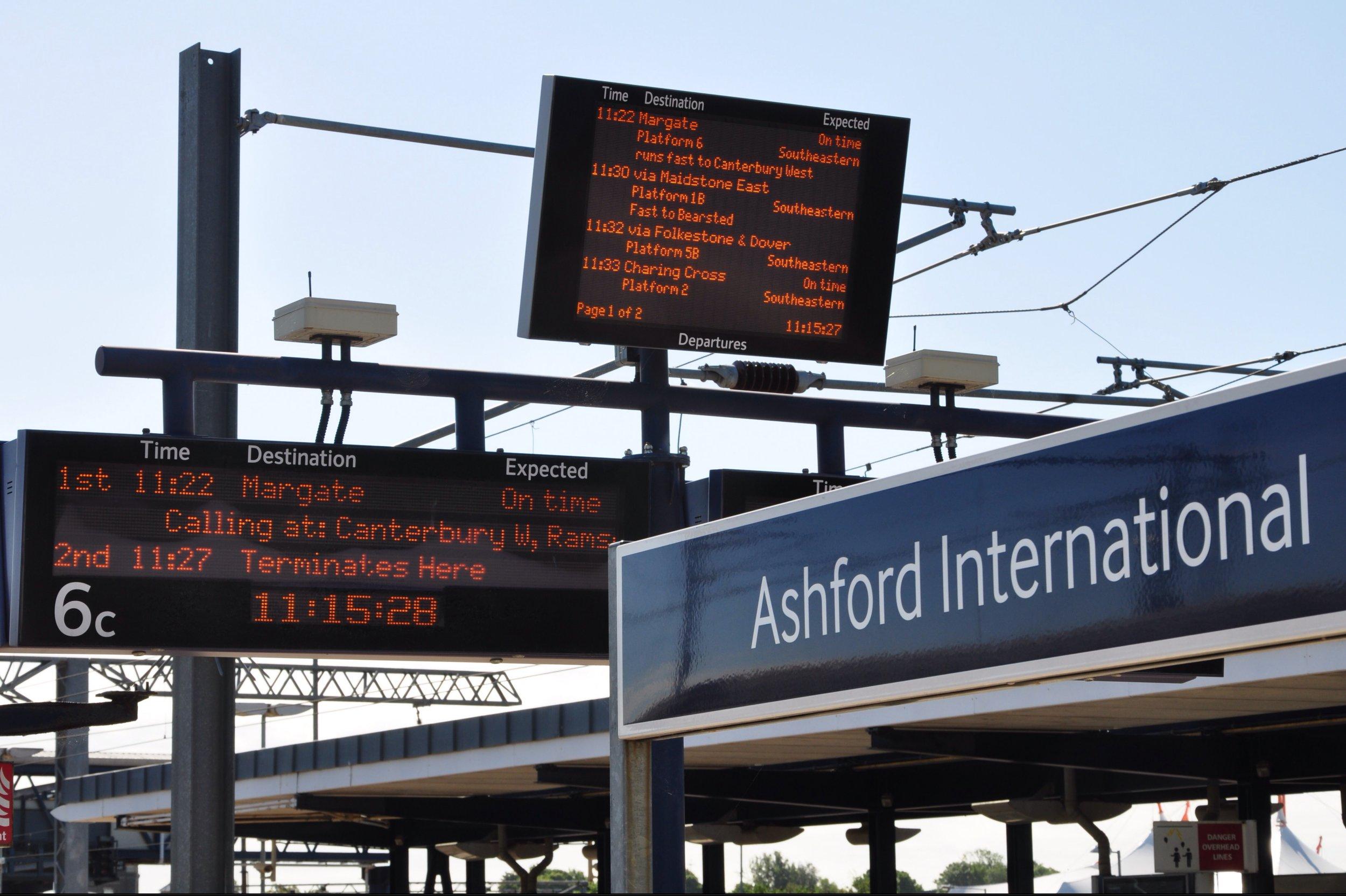 Mandatory Credit: Photo by Steve Richards/REX/Shutterstock (3394553a) Train times display at Ashford International Station Kent, Britain - 2013
