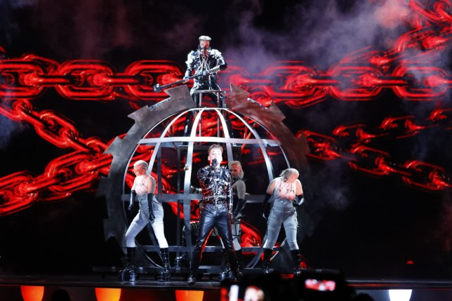 Iceland's Hatari rehearses ahead of the 64th edition of the Eurovision Song Contest in the Israeli coastal city of Tel Aviv on May 13, 2019. (Photo by Jack GUEZ / AFP) (Photo credit should read JACK GUEZ/AFP/Getty Images)