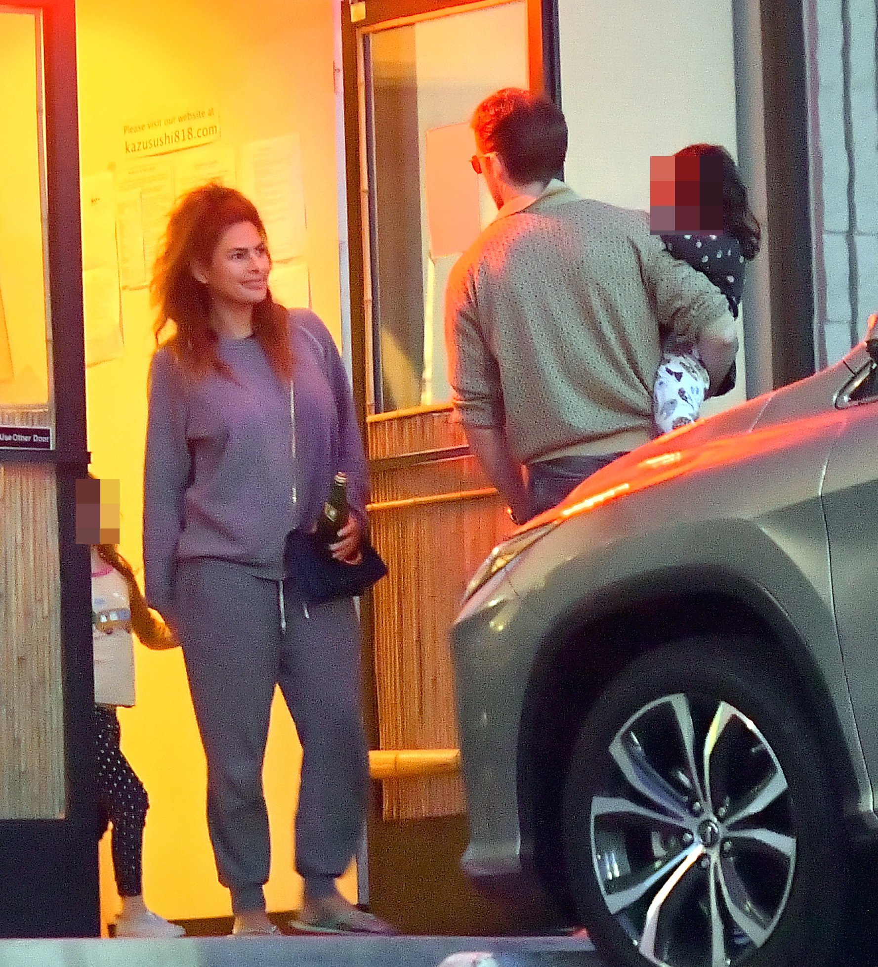 EXCLUSIVE: Ryan Gosling and Eva Mendes take their daughters out on a Sushi dinner date in Studio City. Ryan and Eva seemed really happy to be spending quality time with their little ones as they left Kazu sushi in Studio City. Eva wore a sweat suit ***SPECIAL INSTRUCTIONS*** Please pixelate children's faces before publication.***. 13 May 2019 Pictured: Ryan Gosling and Eva Mendes. Photo credit: Marksman / MEGA TheMegaAgency.com +1 888 505 6342 (Mega Agency TagID: MEGA418740_006.jpg) [Photo via Mega Agency]