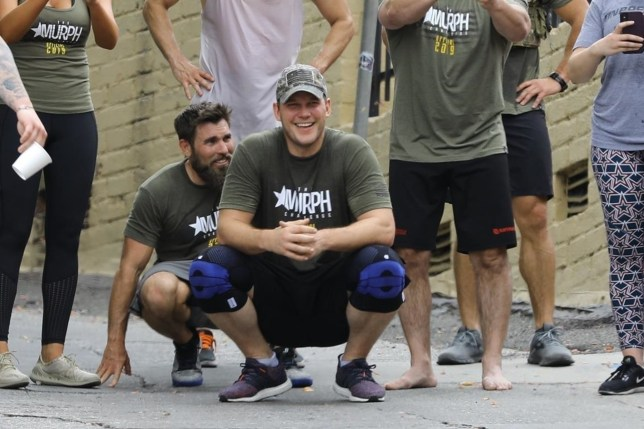 Chris Pratt works up a sweat during a boot camp in Los Angeles