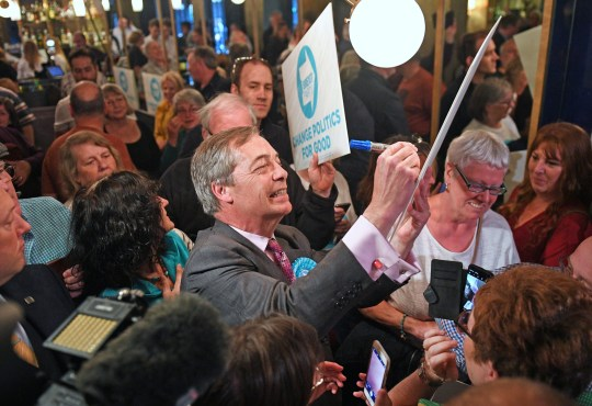 Brexit Party leader Nigel Farage at Sugar Hut in Brentwood, Essex while on the European Election campaign trail.